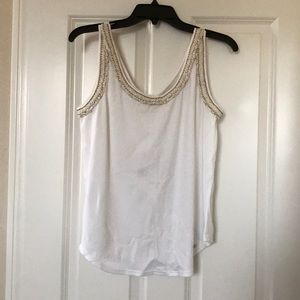 Chanel white tank with gold embroidered trim 38